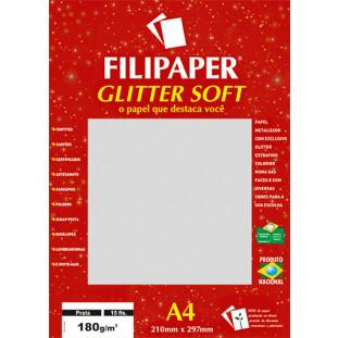Filipaper GLITTER SOFT 180g/m² (15 folhas; Prata) A4 - FRETE GRÁTIS - FP01302