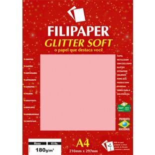 Filipaper GLITTER SOFT 180g/m² (15 folhas; Rosa) A4 - FRETE GRÁTIS - FP01303