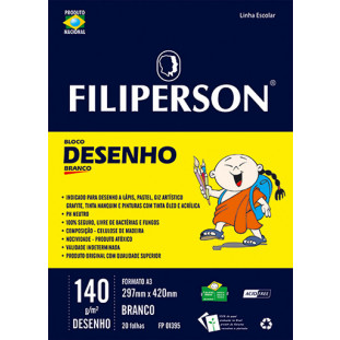 Bloco Filipinho Escolar Desenho Branco 140g/m² (A3) 20 folhas - FP00626