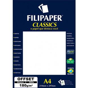 Filipaper OFFSET 180g/m² (50 folhas; branco) A4 - FRETE GRÁTIS - FP01400