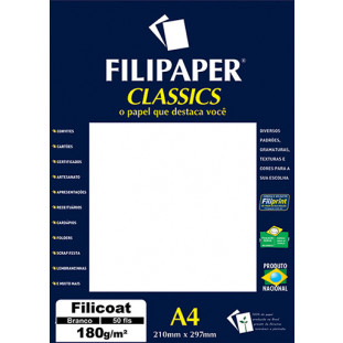 Filipaper Filicoat 180g/m² (50 folhas; branco) A4 - FRETE GRÁTIS - FP01447