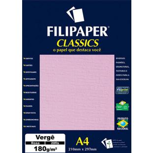 Filipaper Vergê 180g/m² (20 folhas;Rosa) A4 - FRETE GRÁTIS - FP01506