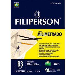 Bloco Filipinho Escolar Milimetrado Branco 63g/m² (A3) 50 folhas - FP00630