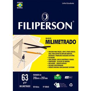 Bloco Filipinho Escolar Milimetrado Branco 63g/m² (A4) 50 folhas - FP00631
