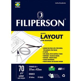 Bloco Filipinho Escolar Layout c/ Margem Branco 70g/m² (A3+) 50 folhas - FP00634