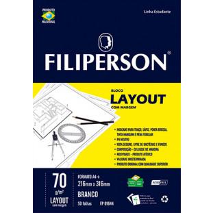 Bloco Filipinho Escolar Layout c/ Margem Branco 70g/m² (A4+) 50 folhas - FP00635