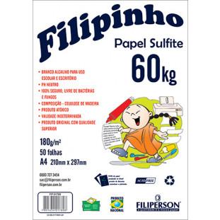 Filipinho Sulfite A4 (50fls - Branco) 60kg 180g/m² - FRETE GRÁTIS - FP01442