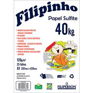 Filipinho Sulfite A3 (25fls - Branco) 40kg 120g/m² - FRETE GRÁTIS - FP01415