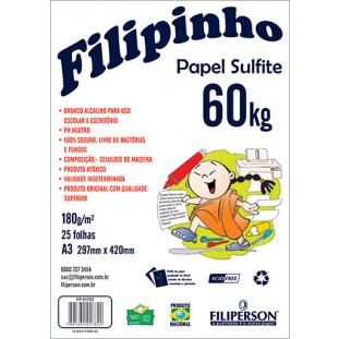 Filipinho Sulfite A3 (25fls - Branco) 60kg 180g/m² - FRETE GRÁTIS - FP01443