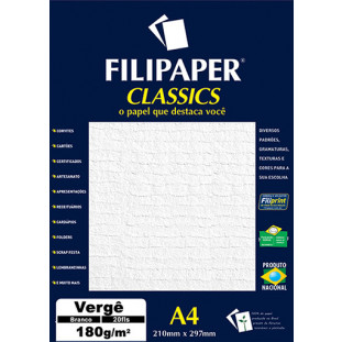 Filipaper Vergê 180g/m² (20 folhas; branco) A4 - FP01870