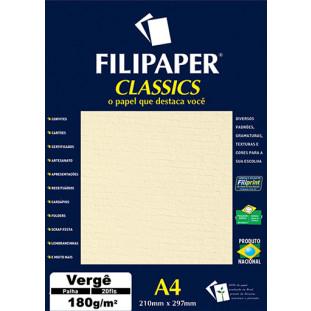 Filipaper Vergê 180g/m² (20 folhas; palha) A4 - FRETE GRÁTIS - FP01872