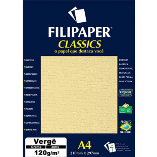 Filipaper Vergê 120g/m² (30 folhas; creme) A4 - FRETE GRÁTIS - FP01873