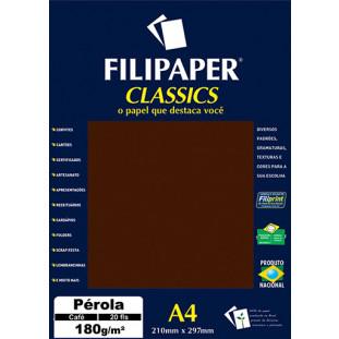 Filipaper CLASSICS PÉROLA CAFÉ 180g/m² A4 20fls - FRETE GRÁTIS - FP01883