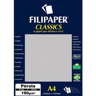 Filipaper CLASSICS PÉROLA PRATA 180g/m² A4 20fls - FRETE GRÁTIS - FP01885
