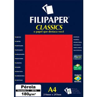 Filipaper CLASSICS PÉROLA VERMELHO 180g/m² A4 20fls - FRETE GRÁTIS - FP01887