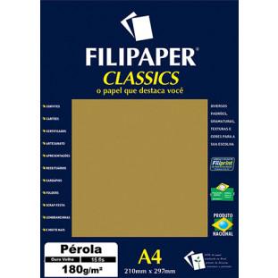 Filipaper CLASSICS PÉROLA Ouro Velho 180g/m² A4 15fls - FRETE GRÁTIS - FP01888