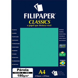 Filipaper CLASSICS PÉROLA Ouro Jade 180g/m² A4 15fls - FRETE GRÁTIS - FP01890
