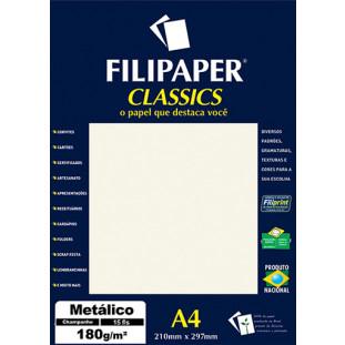 Filipaper CLASSICS METALICO Champanhe 180g/m² A4 15fls - FRETE GRÁTIS - FP01891