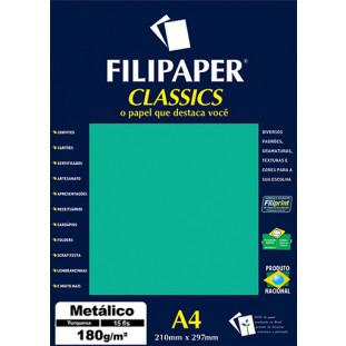 Filipaper CLASSICS METALICO Turquesa 180g/m² A4 15fls - FRETE GRÁTIS - FP01892