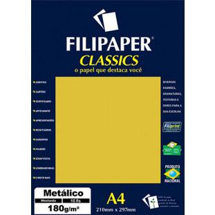 Filipaper CLASSICS METALICO Mostarda 180g/m² A4 15fls - FRETE GRÁTIS - FP01893
