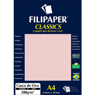 Filipaper Casca de Ovo 180g/m² (20 folhas; salmão) A4 - FP01998
