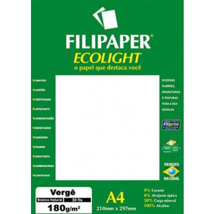 Filipaper ECOLIGHT Vergê 180g/m² (20 folhas; branco natural) A4 FP02085