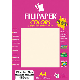 Filipaper COLORS Marfim 180g/m² A4 20fls - FRETE GRÁTIS - FP02393