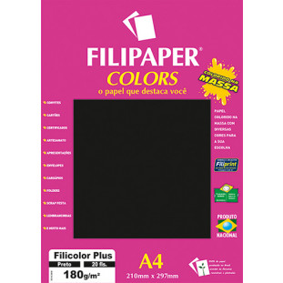 Filipaper COLORS Preto 180g/m² A4 20fls - FRETE GRÁTIS - FP02395