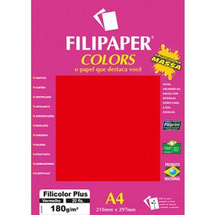 Filipaper COLORS Vermelho 180g/m² A4 20fls - FRETE GRÁTIS - FP02397