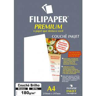 Filipaper Couchê Premium 180g/m² (20 folhas; branco) A4 - FRETE GRÁTIS - FP02504