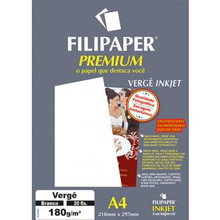 Filipaper Vergê Premium 180g/m² (20 folhas; branco) A4 - FRETE GRÁTIS - FP02507