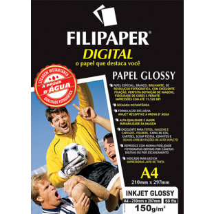 Filipaper InkJet Glossy 150g/m² (50 folhas; branco) A4 - FRETE GRÁTIS - FP02553