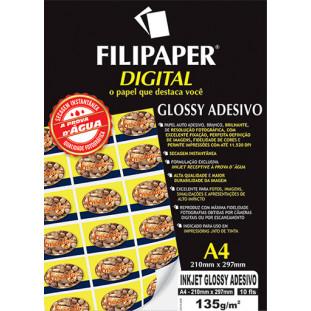 Filipaper InkJet Glossy Adesivo 135g/m² (10 folhas; branco) A4 - FRETE GRÁTIS - FP02554
