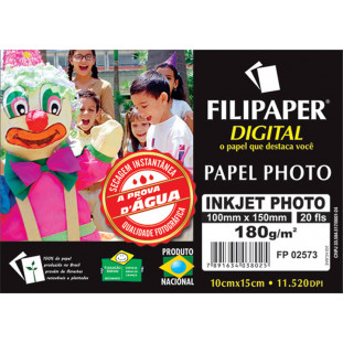 Filipaper InkJet Photo 180g/m² (20 folhas; branco) 10x15cm - FRETE GRÁTIS - FP02573