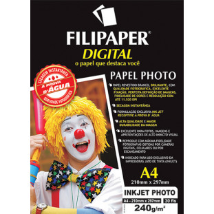 Filipaper Inkjet Photo Pro 240g/m² A4 30fls - FRETE GRÁTIS - FP02579