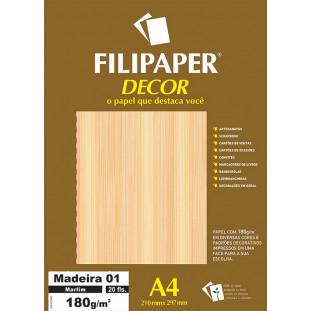 Filipaper DECOR Madeira Marfim 01 - 180g/m² A4 (21cm x 29,7cm) - 20fls - FP02624
