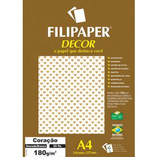 Filipaper DECOR Coração Dourado Branco - 180g/m² A4 (20fls) - FP02658