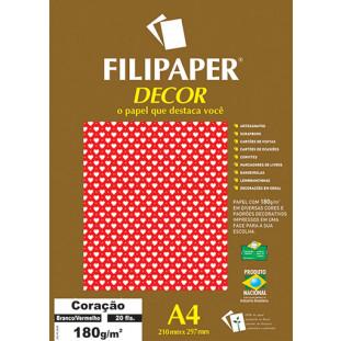Filipaper DECOR Coração Branco Vermelho - 180g/m² A4 (20fls) - FRETE GRÁTIS - FP02665