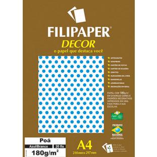 Filipaper DECOR Poá Azul/Branco - 180g/m² A4 (20fls) - FRETE GRÁTIS - FP02669