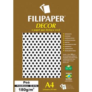 Filipaper DECOR Poá Preto/Branco - 180g/m² A4 (20fls) - FRETE GRÁTIS - FP02674