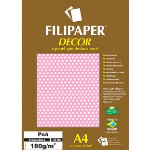 Filipaper DECOR Poá Branco/Rosa - 180g/m² A4 (20fls) - FRETE GRÁTIS - FP02681