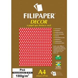 Filipaper DECOR Poá Branco/Vermelho - 180g/m² A4 (20fls) - FRETE GRÁTIS - FP02682
