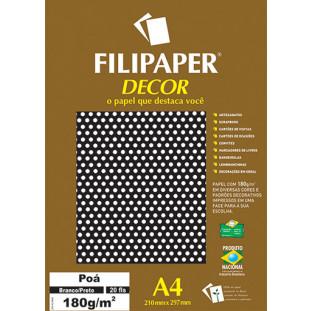 Filipaper DECOR Poá Branco/Preto - 180g/m² A4 (20fls) - FRETE GRÁTIS - FP02683