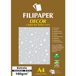 Filipaper DECOR Estrela Branco/Prata - 180g/m² A4 (20fls) - FRETE GRÁTIS - FP02701