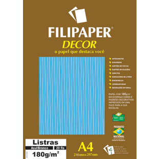 Filipaper DECOR Listras Azul/Branco - 180g/m² A4 (20fls) - FRETE GRÁTIS - FP02703