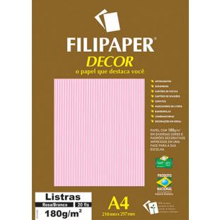 Filipaper DECOR Listras Rosa/Branco - 180g/m² A4 (20fls) - FRETE GRÁTIS - FP02706
