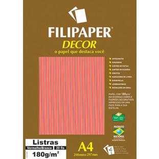 Filipaper DECOR Listras Vermelho/Branco - 180g/m² A4 (20fls) - FP02707