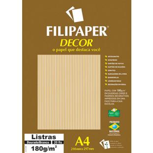Filipaper DECOR Listras Dourado/Branco - 180g/m² A4 (20fls) - FP02709