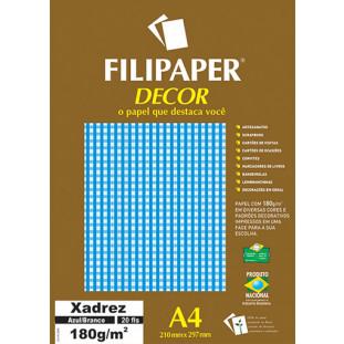 Filipaper DECOR Xadrez Azul/Branco - 180g/m² A4 (20fls) - FRETE GRÁTIS - FP02712