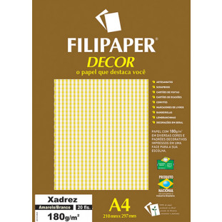 Filipaper DECOR Xadrez Amarelo/Branco - 180g/m² A4 (20fls) - FRETE GRÁTIS - FP02714